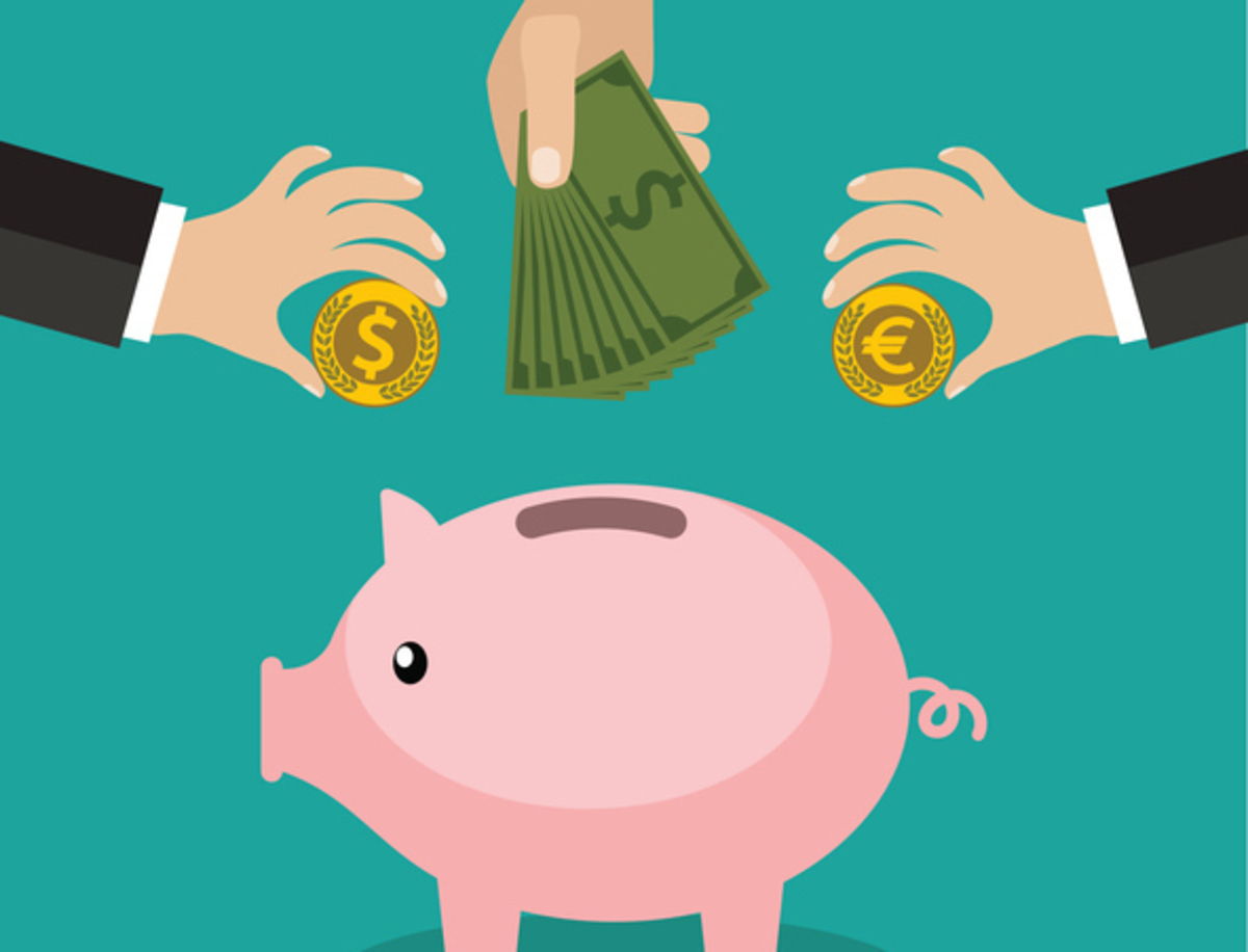 Many hands putting coin and money into a piggy bank. Saving and investing money concept. vector illustration in flat design. infographics web design elements